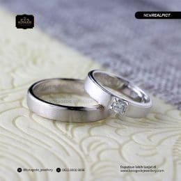 Cincin Kawin Tunangan Platinum Emas Putih Premium PT0195WG