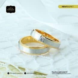 Cincin Kawin Tunangan Emas Kuning Rhodium Doff YG0212YG