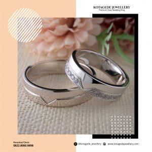 Cincin Kawin Tunangan Palladium Emas Putih Couple PD0230WG