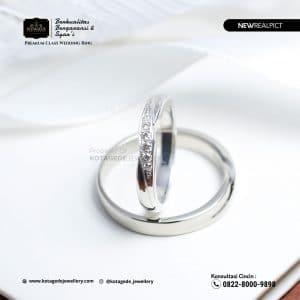 Cincin Kawin Tunangan Palladium Emas Putih Standart PD0217WG