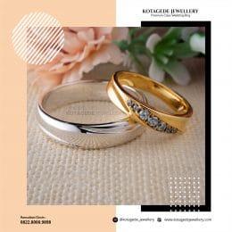 Cincin Kawin Tunangan Palladium Emas Kuning Couple PD0241YG