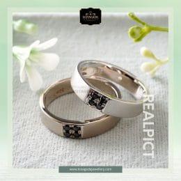 cincin kawin tunangan platidium emas putih PTD0255WG