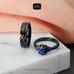 cincin kawin unik dan elegan hitam dengan permata biru