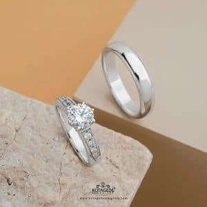 Cincin Kawin Tunangan Elegan Platidium Emas Putih PTD0336WG
