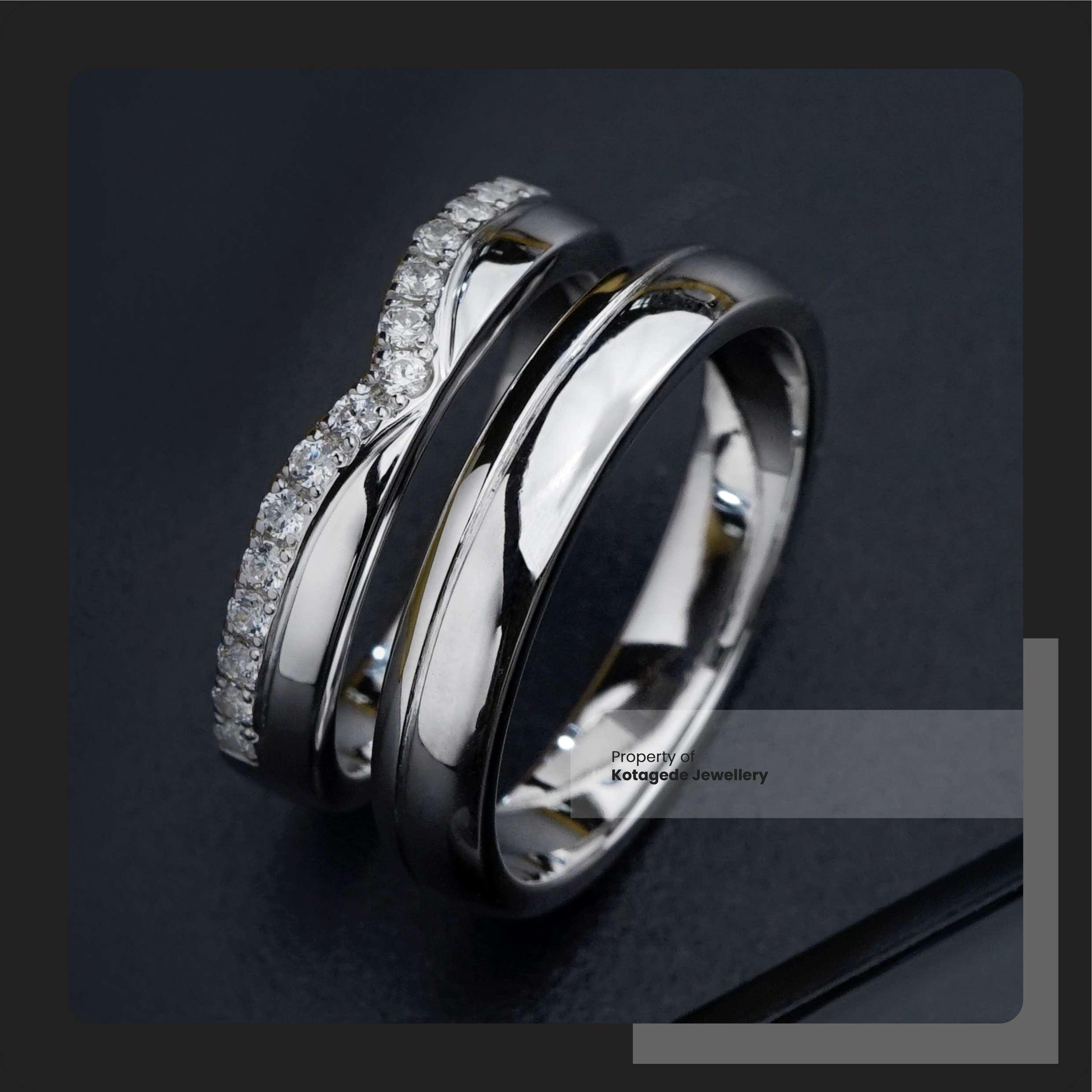 cincin kawin custom Palladium emas putih berlian