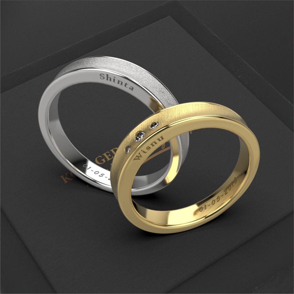 cincin kawin platidium emas kuning laser